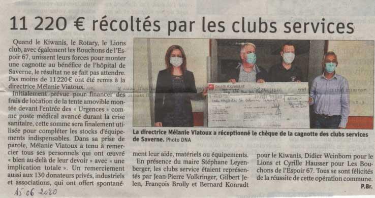 le Lions CLub de Saverne participe au soutien  «COVID-19», en faveur de l'Hôpital Sainte Catherine de Saverne